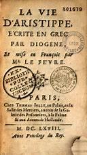 La Vie d'Aristippe - google book - via toutoblog.unblog.fr